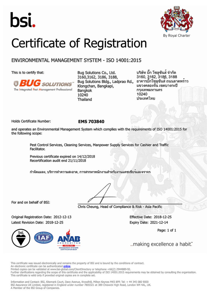 bugsolutions Certificate iso 14001