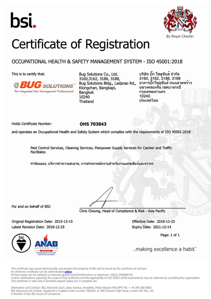 bugsolutions Certificate iso 45001